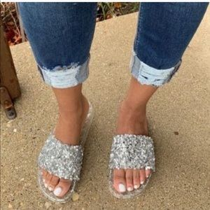 Bling out silver jelly slides